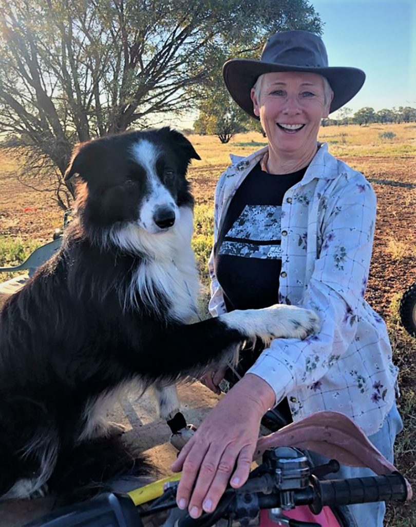 Sally and Champ at a sheepdog training school in Longreach